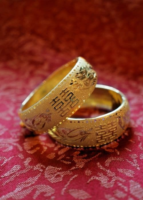 wedding rings with double happiness