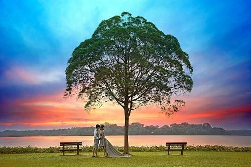 bridal and outdoor wedding photoshoot in Singapore