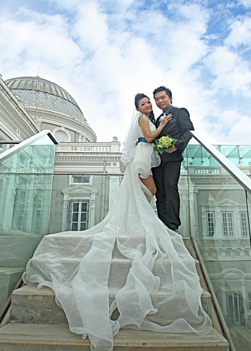 couple tailor made wedding gown with outdoor photo shoot