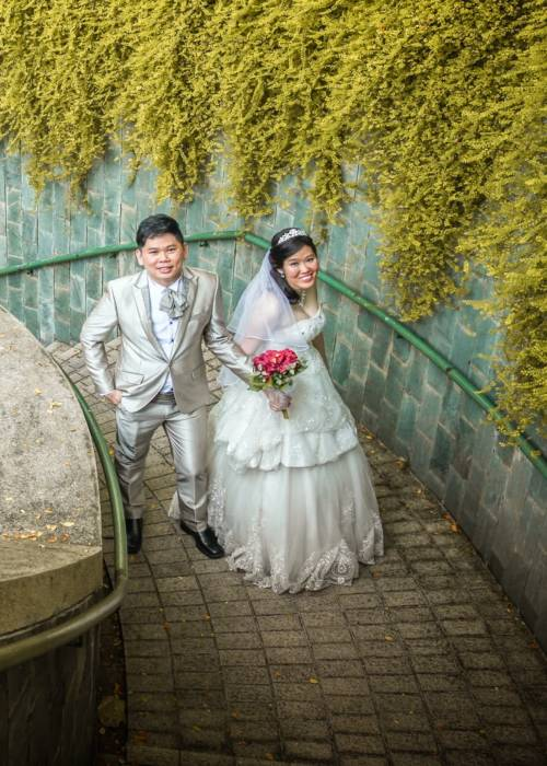 newly wed couple outdoor photo shoot and MEA Wedding Gown
